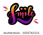 colorful lettering logo  smile  ... | Shutterstock .eps vector #1032762121