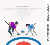 curling sport winter games.... | Shutterstock .eps vector #1032763324