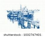 blue pen sketch on square grid... | Shutterstock .eps vector #1032767401