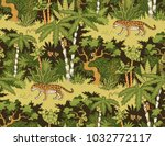 leopard walking in the jungle.... | Shutterstock .eps vector #1032772117