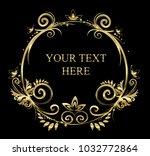 vintage vector set. floral...   Shutterstock .eps vector #1032772864