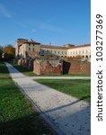 Historical medicean medieval castle, Melegnano, Milan, Italy - stock photo