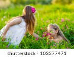 adorable blonde girls playing... | Shutterstock . vector #103277471