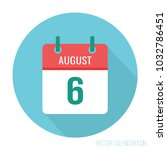 august 6 calendar flat icon | Shutterstock .eps vector #1032786451