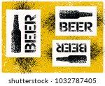 beer typographic stencil spray... | Shutterstock .eps vector #1032787405