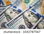 new one hundred dollar bills...   Shutterstock . vector #1032787567