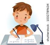 boys are writing  kids doing... | Shutterstock .eps vector #1032789634