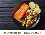 fried salmon steak with avocado ... | Shutterstock . vector #1032792574