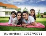 asian family picnic togater in... | Shutterstock . vector #1032793711
