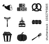 delicious meal icons set.... | Shutterstock .eps vector #1032795805