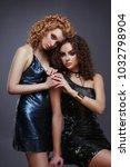 fashion portrait of two slender ...   Shutterstock . vector #1032798904