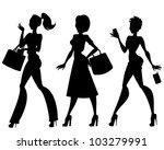 silhouettes of 3 walking women... | Shutterstock .eps vector #103279991
