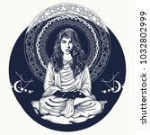 woman meditation tattoo art and ... | Shutterstock .eps vector #1032802999