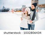 happy love couple makes selfie... | Shutterstock . vector #1032806434