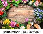frame of spring flower and... | Shutterstock . vector #1032806989