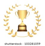 gold trophy with laurel wreath... | Shutterstock .eps vector #103281059