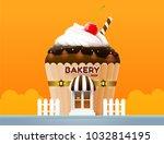 bakery cake shop store building ... | Shutterstock .eps vector #1032814195