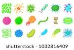 Virus Icon Set. Cartoon Set Of...