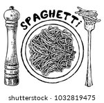 sketch hand drawn spaghetti... | Shutterstock .eps vector #1032819475