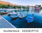 fisher boats at anchor in the... | Shutterstock . vector #1032819715