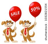 funny dog holding balloon with...   Shutterstock .eps vector #1032821554