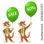 funny cat holding balloon with...   Shutterstock .eps vector #1032821557