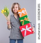 beautiful girl with gift box... | Shutterstock . vector #1032828181