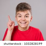 emotional portrait of excited... | Shutterstock . vector #1032828199