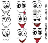 cartoon mouth eyes face icons... | Shutterstock .eps vector #1032831781