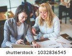 two businesswoman working...   Shutterstock . vector #1032836545