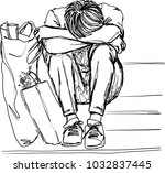 vector art drawing of lonely... | Shutterstock .eps vector #1032837445
