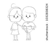 cute couple with gifts | Shutterstock .eps vector #1032838324