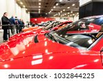 view of many red cars in a...   Shutterstock . vector #1032844225