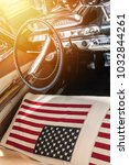 usa flag on seat of a car with...   Shutterstock . vector #1032844261