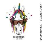 portrait of a magical unicorn... | Shutterstock .eps vector #1032846454