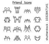 friendship   friend icon set in ... | Shutterstock .eps vector #1032847141