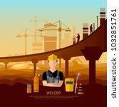 professional welder working... | Shutterstock .eps vector #1032851761