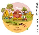 farm agriculture landscape set. ... | Shutterstock .eps vector #1032851881