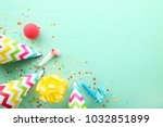birthday party caps  blowers... | Shutterstock . vector #1032851899