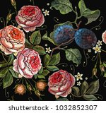 embroidery plums and roses... | Shutterstock .eps vector #1032852307