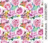 wildflower pink tea rosa flower ... | Shutterstock . vector #1032857887