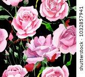 wildflower pink tea rosa flower ... | Shutterstock . vector #1032857941