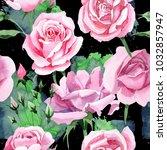 wildflower pink tea rosa flower ... | Shutterstock . vector #1032857947