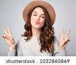 portrait of young stylish... | Shutterstock . vector #1032860869