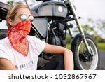 young pensive female driver... | Shutterstock . vector #1032867967