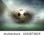 soccer ball on a football field ... | Shutterstock . vector #1032873829