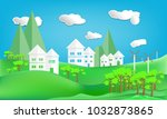 paper art style design house... | Shutterstock .eps vector #1032873865
