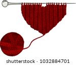 red wool ball and heart... | Shutterstock .eps vector #1032884701