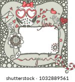 love layout frame with owl  | Shutterstock .eps vector #1032889561
