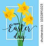 happy easter lettering with... | Shutterstock .eps vector #1032891025